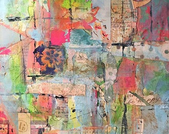 Original Mixed Media Collage Art Painting - Be Happy