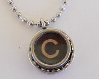Initial Jewelry - Typewriter Key Necklace - Vintage - All Letters Available - Recycled Jewelry