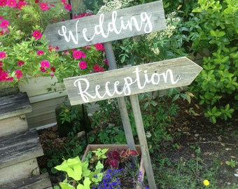 2 Rustic Wood Wedding Signs on Stakes Ceremony Reception Directional Arrow Modern Rustic Cursive Script