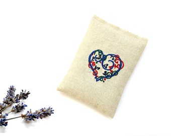 Lavender sachet, embroidered linen sachet gift under 10, drawer freshener, colorful heart