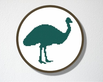 Counted Cross stitch Pattern PDF. Instant download. Emu Silhouette. Includes beginners instructions.