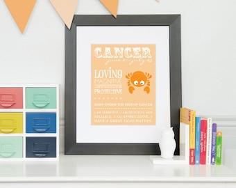 Cancer Zodiac Art Print, Nursery Artwork, Nursery Decor, New Baby Gift, Astrology art print // N-Z04-1PS AA1 03P