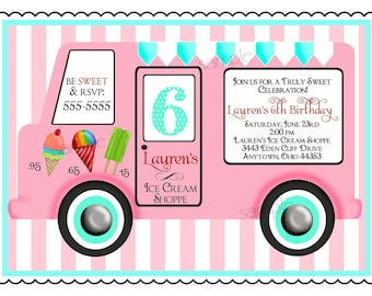 Ice Cream Birthday Party Invitations, Vintage Ice cream Truck, Ice Cream Party , Ice cream Parlor, Children, Girls