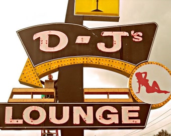 mid century vintage neon sign photo, photography, pinup girl, D-J'S Lounge, mudflap girl, Rockabilly, arrow sign, yellow, black, red