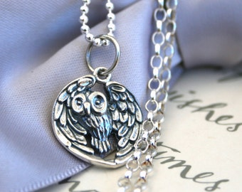Sterling Silver Owl Necklace with your choice of chain length