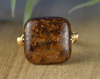 Sale! Square Bronzite Ring- Sterling Silver, Yellow or Rose Gold Filled Wire Wrapped Rin - Any Size 4 5 6 7 8 9 10 11 12 13 14