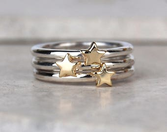 Stacking Rings | Star ring | Sterling Silver Stacking Rings | Gold Stacking Ring | Star Jewellery | Silver stacking Ring | LUNAR | Celestial