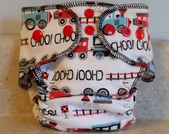 Fitted Preemie Newborn Cloth Diaper- 4 to 9 pounds- Trains- 16023