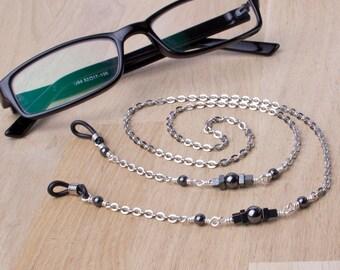 Geometric Eyeglasses chain - hematite square and round bead glasses chain | Eyewear neckchain | Reader gift lanyard | Sunglasses chain