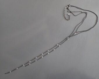 Oxidized Silver Long Necklace, Layered Crystal Quartz Y Necklace, Multi-strand, Rock Crystal, Drop, Rosary,Boho,Delicate,Lariat,Bolo,Vintage