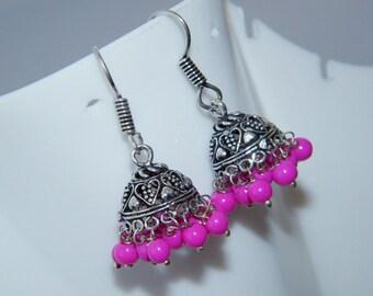 Pink Beads Jhumki, Nepali Boho Handmade Silver Plated Jhumka Earring, Indian jewelry , Bell earrings