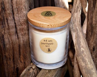 Soy Driftwood Scented Artisan Glass Container Candle Wooden Lid Handmade