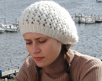 2 Berets, a lace version and stockinette stitch version, slouchy or traditional. PDF knitting pattern