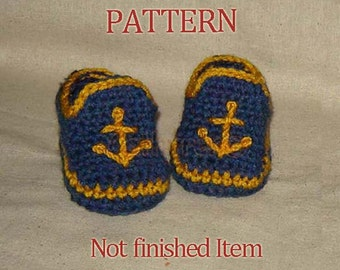 Baby Boy Sailor Booties, Photo Prop - INSTANT DOWND Crochet Pattern