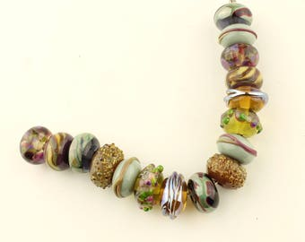 Lampwork Beads Set  Organic, Green, Brown, Blue, Purple, Burgundy