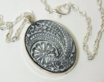 Zentangle Pendant, Abstract Black White Silver Gray Oval Pendant Polymer Clay Jewelry