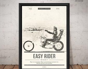 EASY RIDER Poster - Unique Retro Movie Poster - Movie Print, Film Poster, Wall Art, Dennis Hopper Print