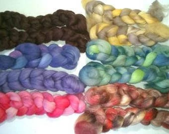 Merino Handdyed Mini Braid Comb Top Fiber Roving Surprise Spinning Fiber - 6 Braid - 1 oz each