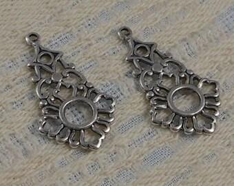 LuxeOrnaments Antique Silver Filigree Drop-Pendant (Qty 2) 34x20mm S-5467-S