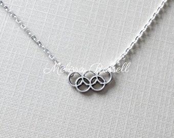 SALE - Olympic rings silver charm necklace, Rio, 2016, Gymnastics, Simone Biles, Michael Phelps