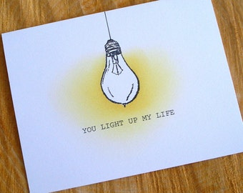 You Light Up My Life Card, Valentine's Day Card, Pun Love Card, Light Bulb Love Card, Valentine Card For Him, Fun Valentine Card For Her