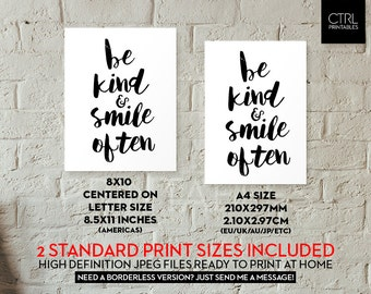 Be Kind & Smile Often Typography Printable Wall Art Printable Gift Happy Motivational Print Apartment Home Decor Dorm Office Art