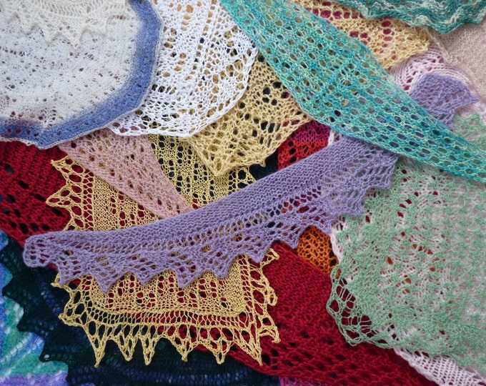 pdf copy of Exploring Shawl Shapes - 27 mini shawls to knit by Elizabeth Lovick