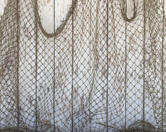 Old Used Fishing Net - 10 ft x 10 ft - Vintage Fish Netting - Cleaned & Packaged - Nautical Maritime Decor