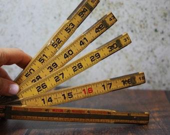 Natural Wooden Extension Lufkin RULER with Metal Slide Out Rule- Vintage Measurement- Wood- J09