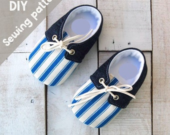 DIY kid's sewing pattern pdf, Retro Baby boy shoes, shoes with lace, kids shoes, baby shoes, sizes New born to 12month, boys clothes pattern