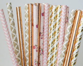 Pink Party Straws, Floral Straws, Baby Shower Decorations, Bridal Shower Decorations, Pink and Gold Party Straw Mix