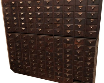 Midcentury File Card Catalog Cabinet of Oak Used in Library, 150 Drawers with Brass Pulls