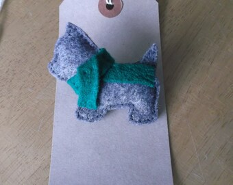 Felt Terrier with green scarf Christmas brooch