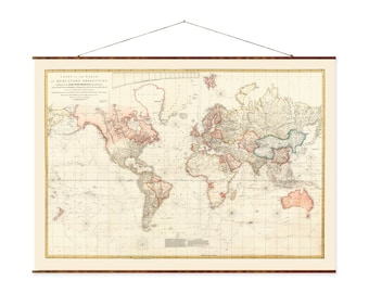 """Chart of the World, 29""""x44"""", Canvas Map, world map, vintage maps, antique map, map of the world, roll down map, large canvas map"""