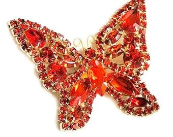 Bright Orange Butterfly Figural Brooch