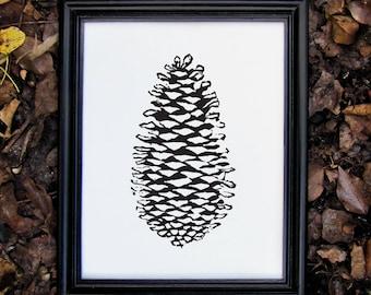 Black Botanical Nature Print - Linocut Pinecone Print