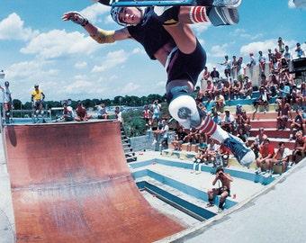 Steve Caballero Kona Skatepark Frontside Boneless Skateboarding Photo - 8X10 12X16 18 x 24 Inch - 80s Skate Photo