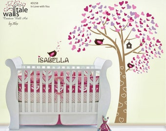 WALL DECALS - Tree wall decals - In Love with You tree wall decal for nursery.