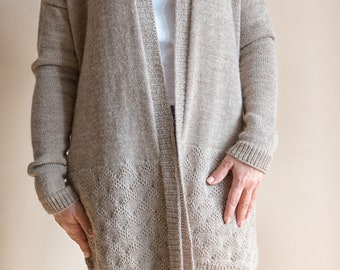 Women's cardigan/Wool cardigan/Alpaca coat/Soft beige cardigan/quality yarn