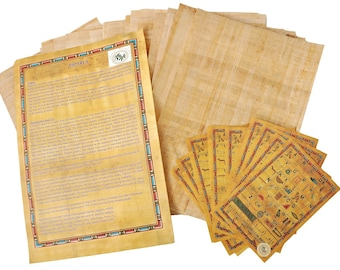 20 Blank Egyptian Papyrus Sheets for Art Projects and Schools 8x12in 20x30cm + 1 Bookmark gift