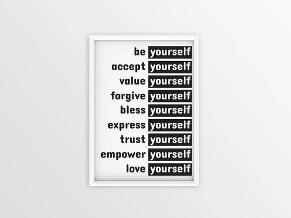 Be Yourself Accept Yourself Love Yourself Quote. Motivational Greeting Card.  Motivation Quote. Inspirational Typo. Inspirational Quotes