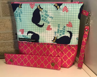 "Cat ""live in the meow"" project zipper or snap pouch with flat bottom and knitting needle cozy"
