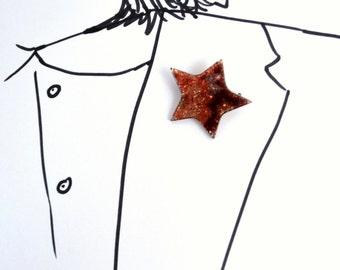 Signed Lea Stein Brooch - Vintage Star Pin - Glitter Sparkle
