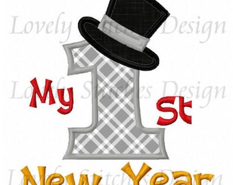 My First 1st New Year Top Hat 2018 Applique Shirt or Bodysuit Boy or Girl