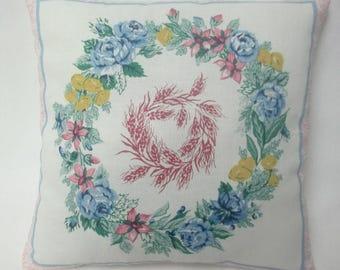 Floral Wreath Mini Pillow, Spring Summer Decor, Cottage Chic Decor