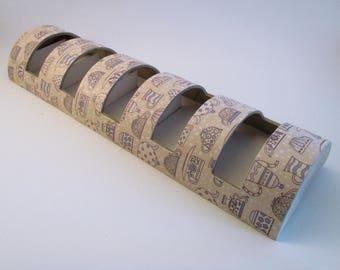 Distributeur de sachets de thé en carton dans les tons beige et bleu - Création unique