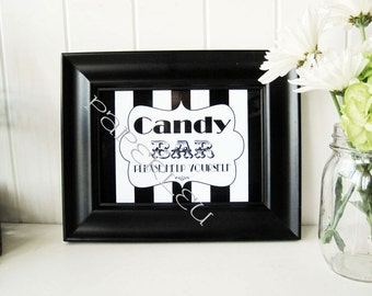 """Weddings and Parties """"Candy Bar"""" sign - DIY Instant Printable Download - Black and White Striped  - 8x10"""