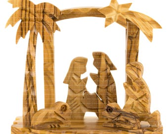 Nativity Christmas Composition. Bethlehem Christmas Nativity Modern Composition. Olive Wood Nativity.