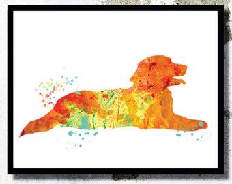 Golden retriever Art Print Dog home decor Golden retriever watercolor painting Kids Play room Golden retriever poster Christmas dog gift