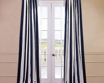Navy Blue and White Striped Curtains Window Treatments, Navy Blue Nautical Curtains